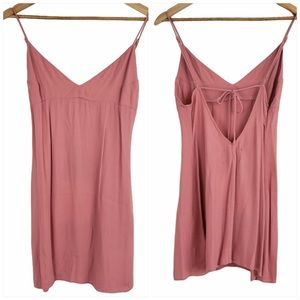 Reformation tie-back mini dress rose pink small